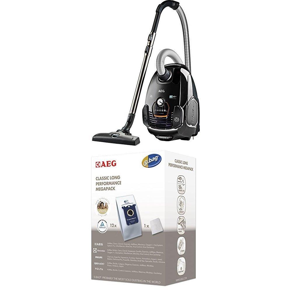 Pack AEG VX7 Power Aspiradora con bolsa con cepillo parketto, color negro ébano + AEG GR201M Pack de 12 bolsas extra: Amazon.es: Hogar
