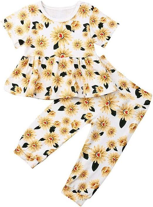 Wang-RX Moda niños bebés niñas Ropa Girasol Camiseta Tops + ...