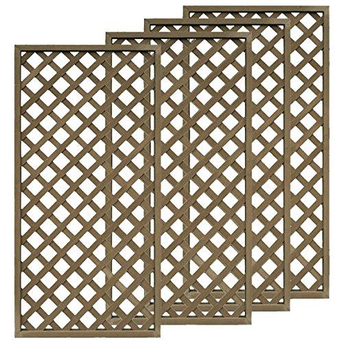 igarden アイガーデン アイウッド人工木ラティス H175×W90cm 格子タイプ4枚セット ダークブラウン B01CCF07L2 23800