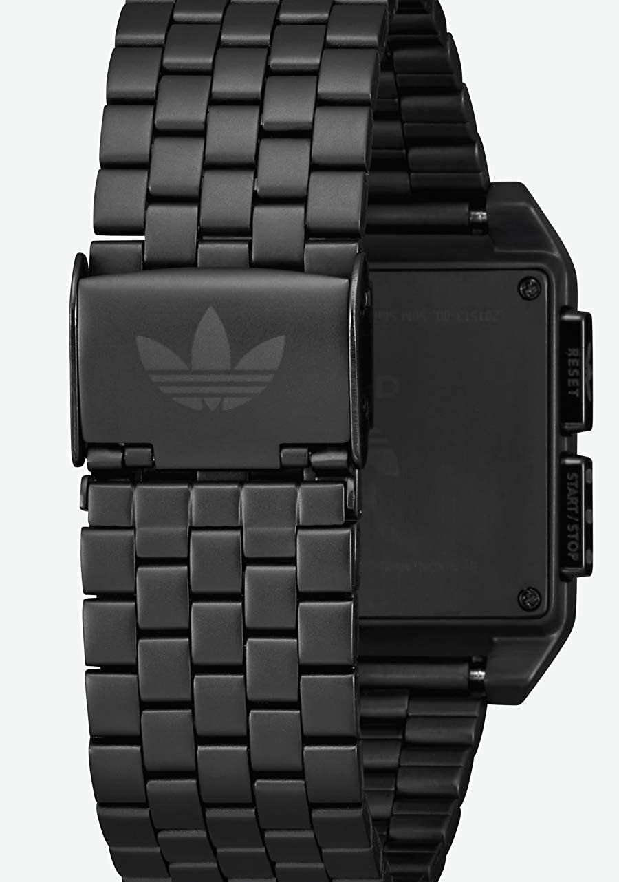 Adidas Watches Archive_M1. Men's 70's Style Stainless Steel Digital Watch with 5 Link Bracelet (36 mm). All Black / Tech Green