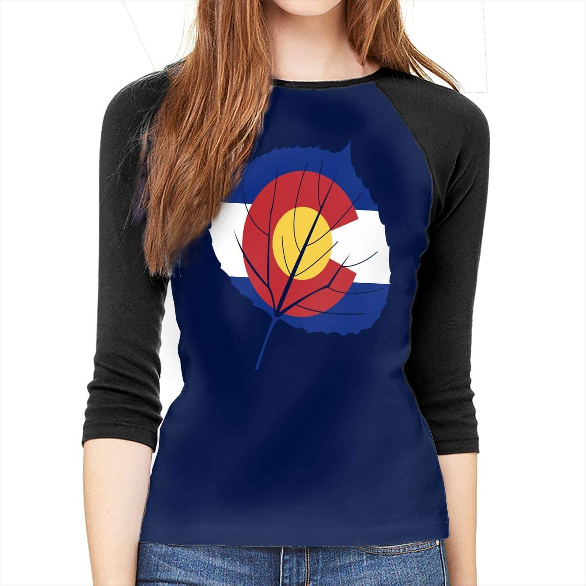 Aspen Leaf Colorado Flag Adult Womens Long-Sleeved Tee Shirts
