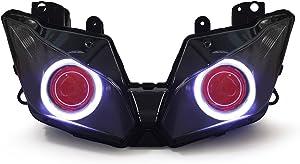 KT LED Angel Eye Headlight Assembly for Kawasaki Ninja 300 Ninja 250 2013-2018 V1 Red Demon Eye