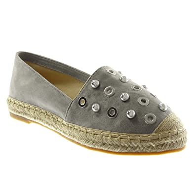 b6b537652 Angkorly - Women's Fashion Shoes Espadrilles - Slip-on - Perforated -  Studded - Cord