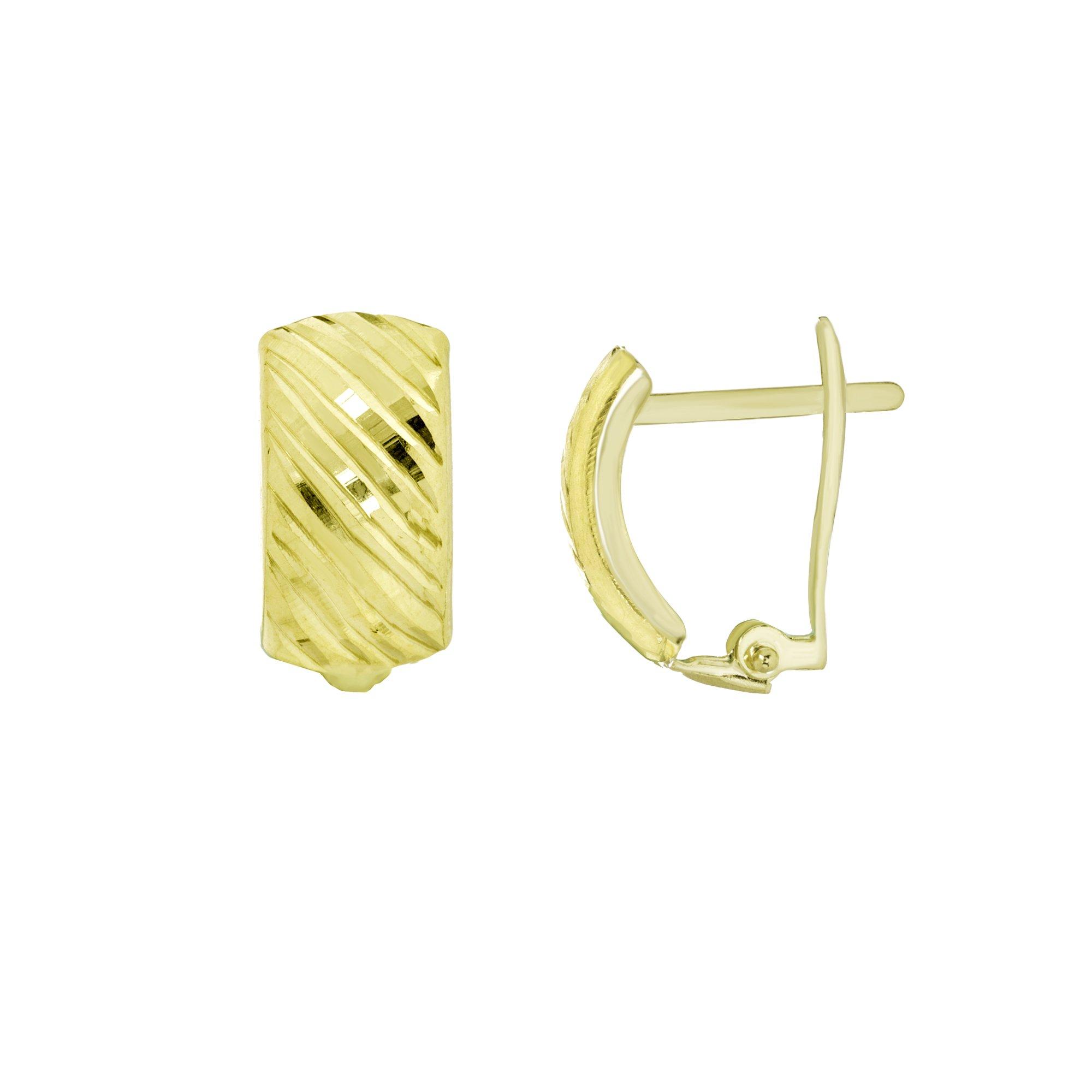 CLIP BACK EARRINGS, 10KT GOLD DIAGONAL DIAMOND CUT CLIP BACK EARRINGS