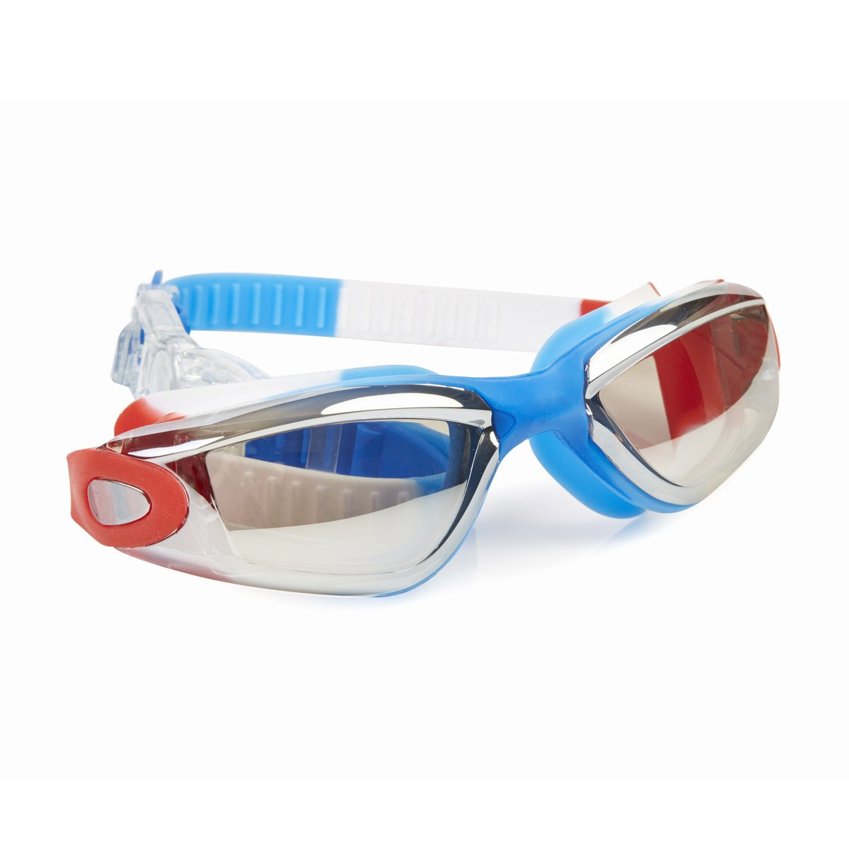New Camp Color War Swimming Goggles For Kids by Bling2O - Anti Fog, No Leak, Non Slip and UV Protection - USA Red White and Blue Colored Fun Water Accessory Includes Hard Case