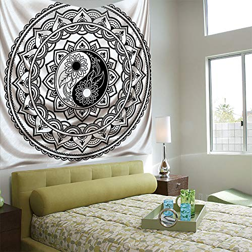 Tapestry Wall Hanging 3D Printing Tree Tapestry Wall TapestryLiving Room Bedroom,Ying Yang,Ornate Symbol with Lace Style Blossom Patterns Inspirational Far Eastern Print Decorative,Black White
