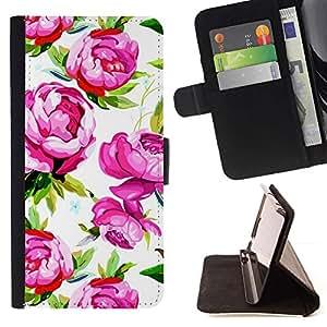 ForSamsung Galaxy S3 MINI i8190 (NOT S3) Case , Rose Violet Vert Vintage Wallpaper - la tarjeta de Crédito Slots PU Funda de cuero Monedero caso cubierta de piel