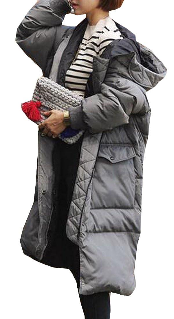 Fulok Womens Winter Thick Puffer Hooded Zip Front Long Parkas Coats