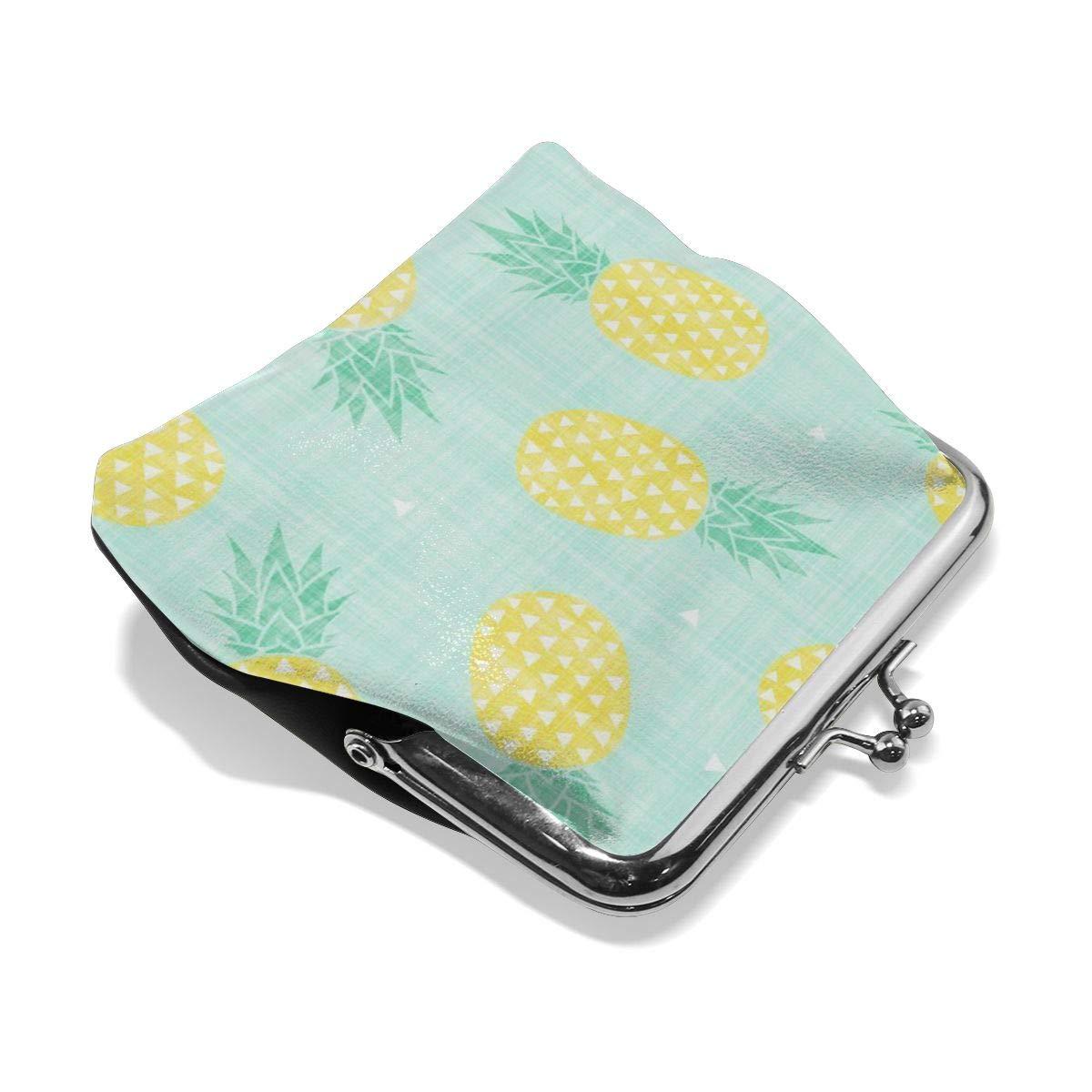TYDhey Cartoon Pineapple Classic Buckle Coin Purses Leather Kiss-Lock Change Wallets