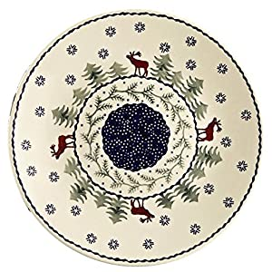 Jankiewicz Boleslawiec Polish Pottery Christmas Tree Reindeer Moose Pattern, 10.5″ Dinner Plate