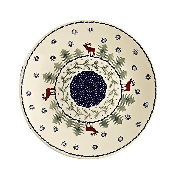 Jankiewicz Boleslawiec Polish Pottery Christmas Tree Reindeer Moose Pattern, 10.5″ Dinner Plate