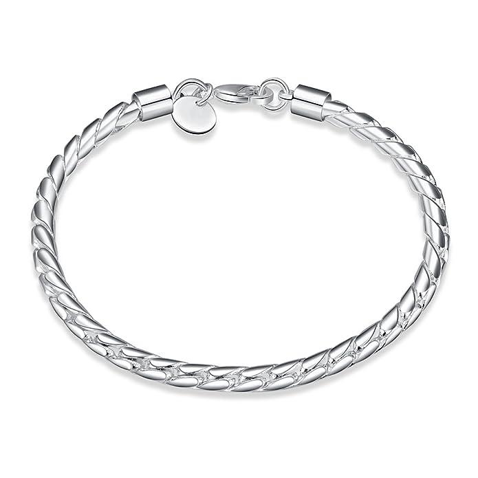 NYKKOLA Beautiful Fashion Jewelry Classic 925 Sterling Silver plated Snake Chain Bracelet For Women Mens HFknRQCAcF