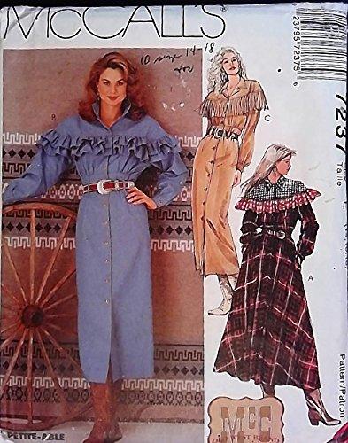 OOP McCalls SEWING PATTERN 7237. Misses szs 14,16,18 Western Dress w/Slim or Gathered Skirt. Top w/ Ruffling or Fringe. MUST SEE! Envelope has some wear. UNCUT, ()
