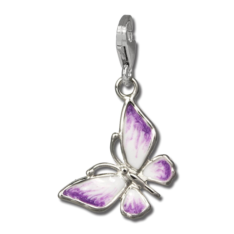 SilberDream exclusive Charms - Charm papillon lilas/blanc en argent pour charms colliers et bracelets - Argent 925 Sterling - FC825V SilberDream Charms