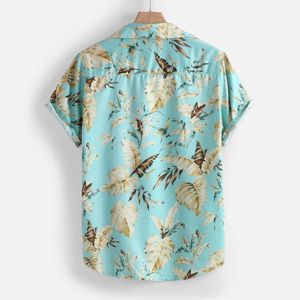 iNoDoZ Mens Summer Beachwear Beach Shirts Fashion Stand Collar Print Short Sleeve Shirt Top Lightweight Fishing Tees