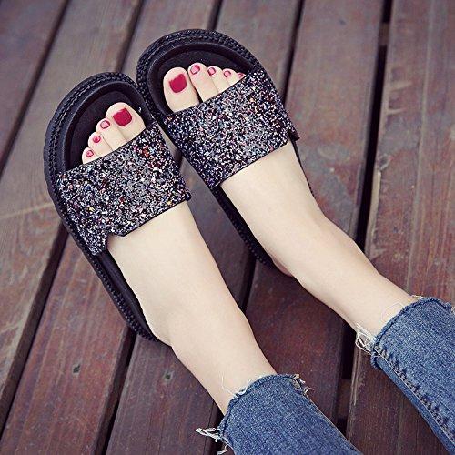 KPHY-Die kühle Sommer Sandalen Frauen Flach geschlitzten Hausschuhe Schuhe Schuhe Hausschuhe Casual Hausschuhe Mädchen die neue Flut schwarz 38529e