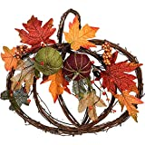 One Holiday Way Natural Twig Harvest Pumpkin Wreath with Autumn Leaves and Pumpkins - Wall Hanging Fall Decoration