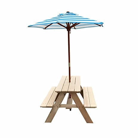 Sliverylake Outdoor Table W/ Benches Umbrella Set Patio Outdoor Furniture  Chair Kids Bench