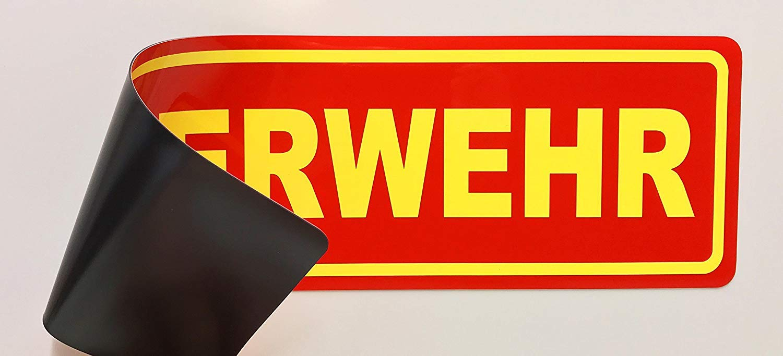 Lohofol Magnetschild Feuerwehr 35 x 10 cm Schild magnetisch lieferbar in DREI Gr/ö/ßen