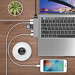 Type C Adapter, USB C Hub for Macbook Pro 2017 2016 with USBC 5Gbps Data and Charging, 4K HDMI, Thunderbolt 3, Micro SD/ SD Card Reader, USB 3.1 Ports 5K@60Hz for Apple Macbook Pro