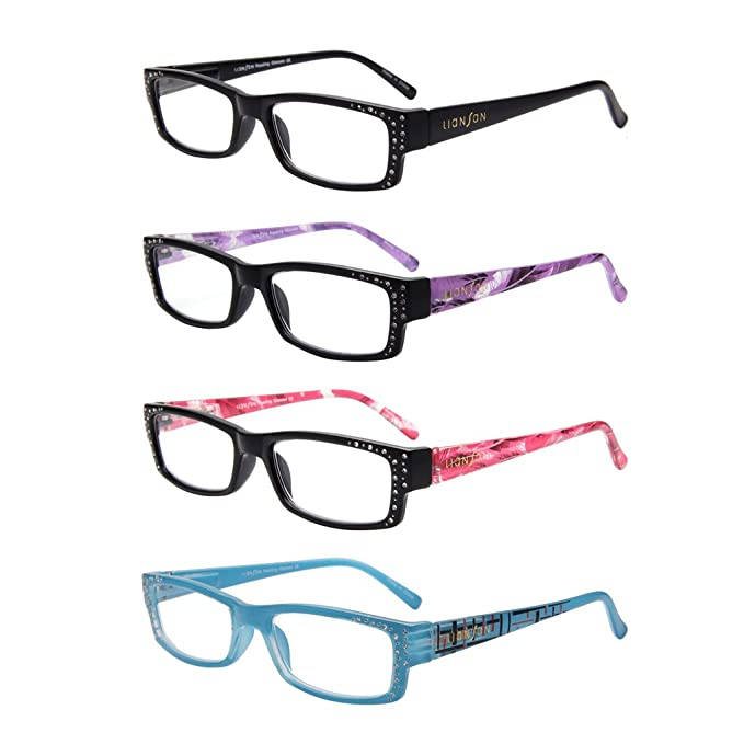 5d5f73a6b7 LianSan Designer 4 Pack Womens Spring Hinge Readers with Crystals Ladies  Fashion Lightweight Stylish Rectangle Reading