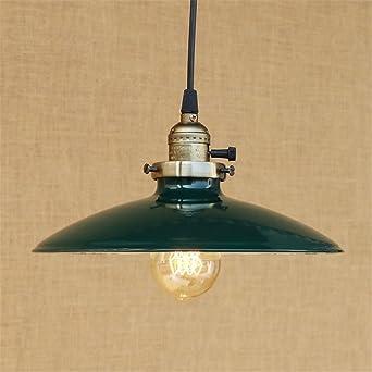 E27 Vintage lámpara colgante paraguas luces de techo verde ...