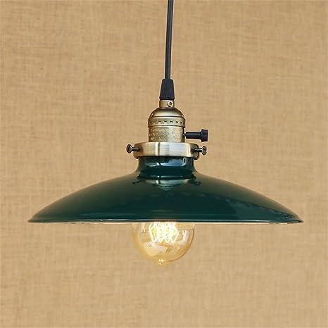 E27 Vintage lámpara colgante paraguas luces de techo verde industrial retro araña dormitorio mesilla de noche salón cafetería bar centro comercial ...