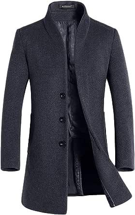 Allthemen Abrigo de trinchera para hombre Abrigo largo de lana de corte slim Chaqueta de abrigo de cachemira Abrigos Abrigo de invierno Abrigo cálido
