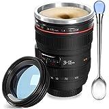 Camera Lens Coffee Mug,Camera Lens Mug,Fun Photo Coffee Mugs Stainless Steel Lens Mug Thermos Great Gifts for Photographers,H