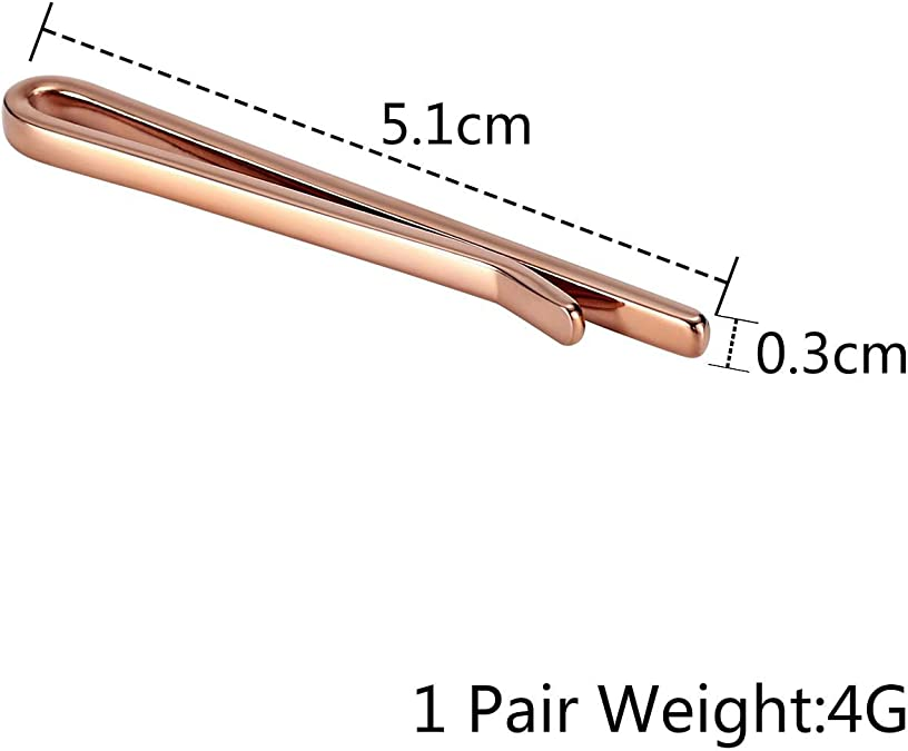 Aokarry Mens Tie Clips Rose Gold Stainless Steel Tie Bar Clips Clasp