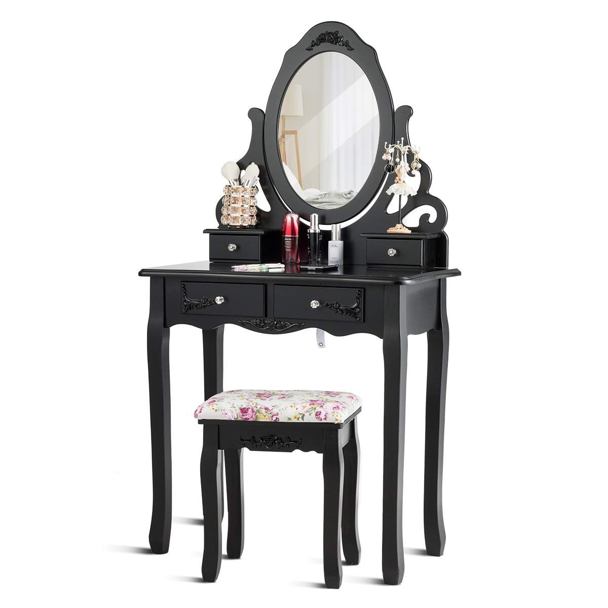 Giantex Vanity Dressing Table with Mirror and Stool, 360 Rotating Oval Makeup Mirror Classic Style Delicate Carved Cushioned Benches Wood Legs, Vanity Tables with Divided Drawers Black
