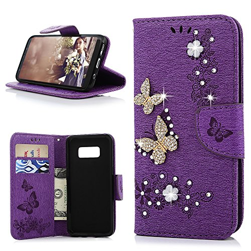 Galaxy S8 Wallet Case, YOKIRIN Luxury 3D Handmade Crystal Rhinestone Case Embossed Double Bling Butterfly PU Leather with Wrist Strap Stand Credit Card ID Holders Skin for Samsung Galaxy S8, Purple
