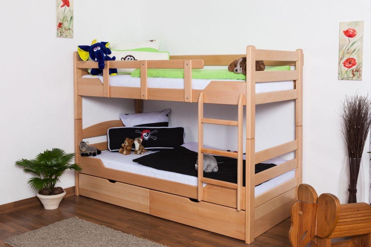 Stockbett mit Bettkasten Easy Sleep K3/n inkl. 2 Schubladen und 2 Abdeckblenden, 90 x 200 cm Buche Vollholz massiv Natur, teilbar