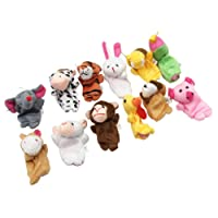 MagiDeal 12 pieces Animal Finger Puppets Plush Cloth Doll Baby Parent Child Bedtime Storytelling Props Teaching Aids Developmental Toys
