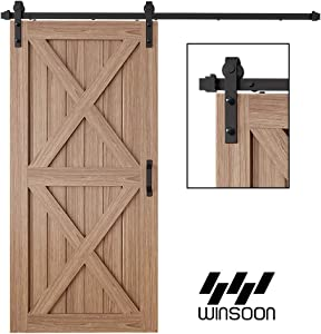 WINSOON 6FT Antique Single Sliding Barn Door Hardware Roller Track Kit Black, 4-18FT for Choose