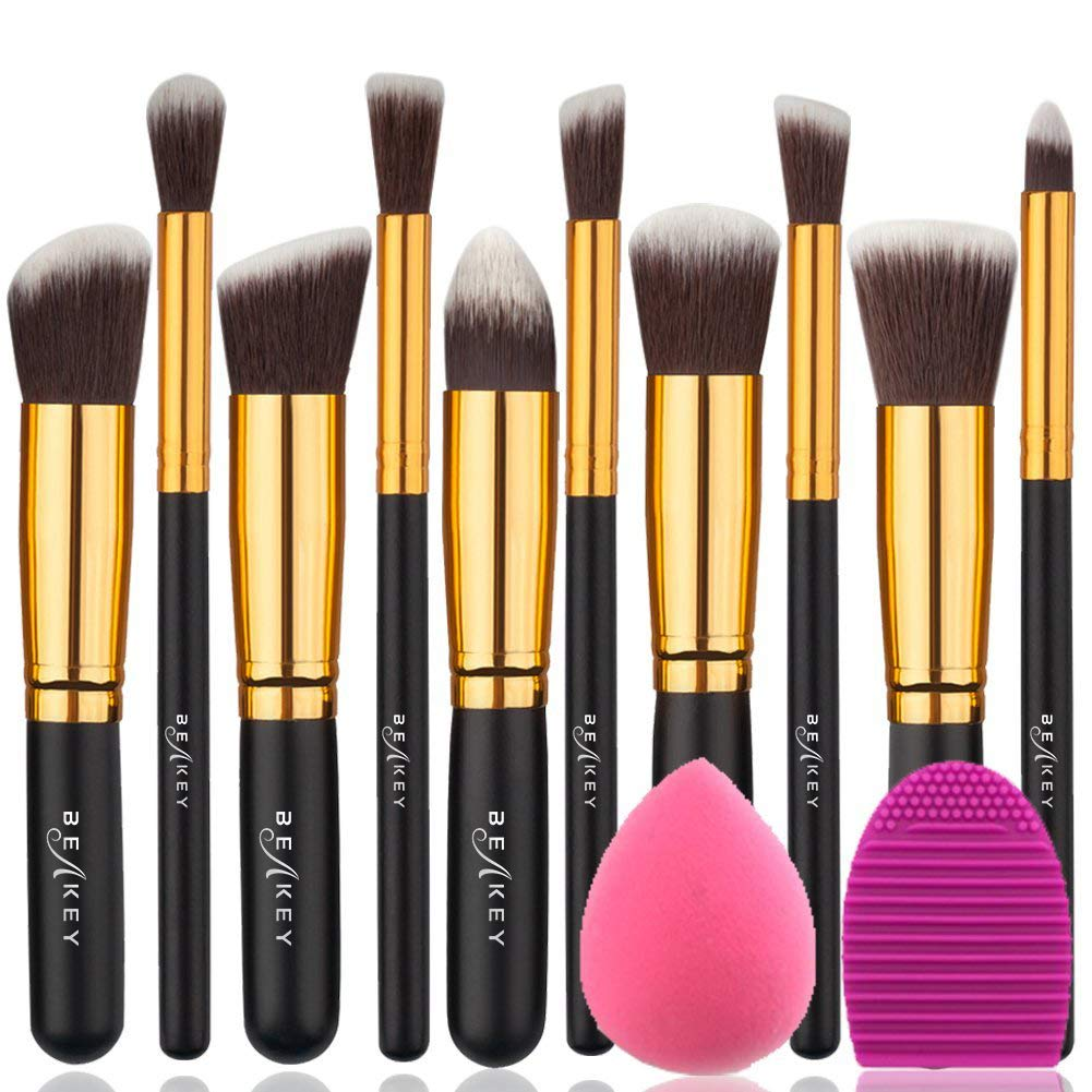 BEAKEY Makeup Brush Set Premium Synthetic Kabuki Foundation Face Powder Blush Eyeshadow Brushes Makeup Brush Kit with Blender Sponge and Brush Egg (10+2pcs, GOLD-BLACK) Noble Life FM-0289