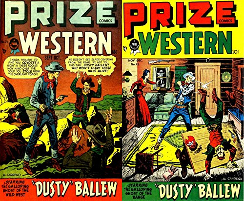 Prize Western. Issues 71 and 72. Starring Dusty Ballew the galloping ghost of the range. Golden Age Digital Comics Wild West Western.