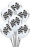 Qualatex Checkered Racing Flags Biodegradable Latex Balloons, 11-Inch (12-Units)