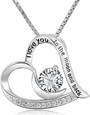Gift for Mom Silver Necklace Jewelry Sterling Silver Heart Necklace with Clear CZ Stone