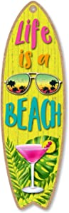 Honey Dew Gifts Life is a Beach, 5 inch by 16 inch Surfboard, Wood Sign, Tiki Bar Decoration, Beach Themed Decor, Decorative Wall Sign, Home Decor