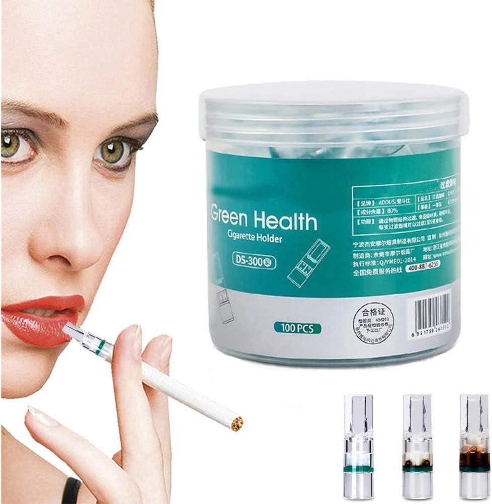 CUTEPET Filtros de Cigarrillos Desechables, reduzca el alquitrán de Cigarrillos y el daño de Fumar Filtro de Seguridad (Verde, 100PCS)