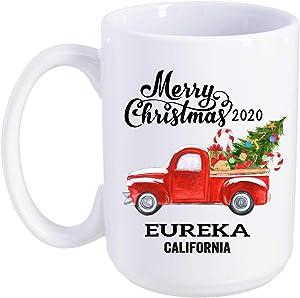 Eureka California State Family New Home Mug 2020 Christmas First New House - Decor Housewarming, Keepsake Present For Friends And Family - Merry Christmas Mug 15 Oz