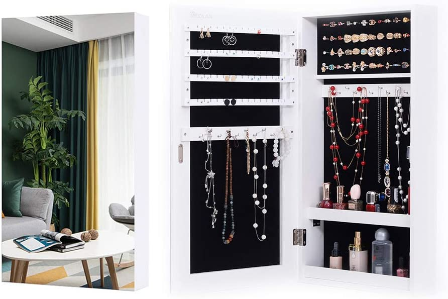 KEDLAN Jewelry Cabinet Wall Hanging Door Mounted Mirrored Space Saving Organizer in Living Room or Bedroom, White