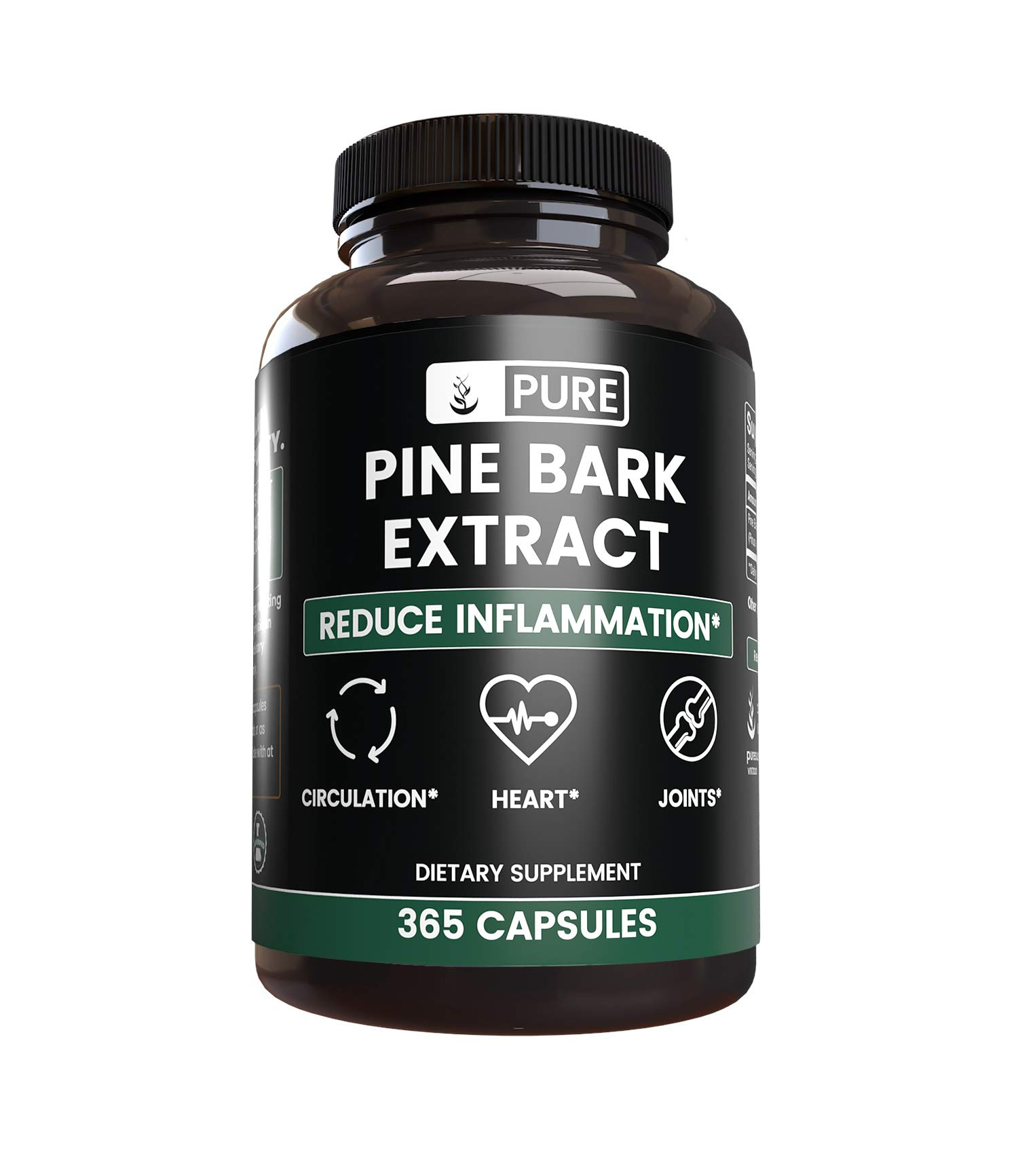 Pure, Pine Bark Extract, (365 Capsules) with 95% Proanthocyanidins, Gluten-Free & Lab Verified, Made in The USA, (650mg Serving)
