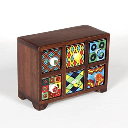51b1b74e43d Buy Universal Art 6-Drawer Wooden Chest With Ceramic Drawers Online at Low  Prices in India - Amazon.in