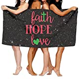 Faith Hope Love Wall Art 100% Polyester Velvet Absorbent Bath Towel 31 X 51 Inches