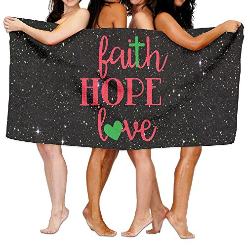 Faith Hope Love Wall Art 100% Polyester Velvet Absorbent Bath Towel 31 X 51 Inches by JYDPROV