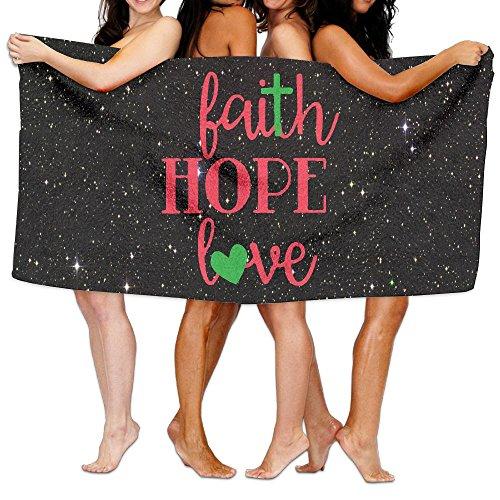 Faith Hope Love Wall Art 100% Polyester Velvet Absorbent Bath Towel 31 X 51 Inches by JYDPROV