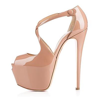 ce8845da889720 uBeauty Damen Pumps Stilettos High Heels Peep Toe Glitzer Übergröße  Sandalen mit Plateau Corss Ankle Strap