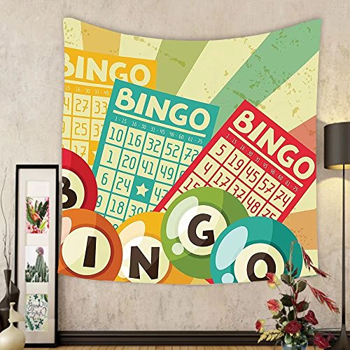 Gzhihine Custom tapestry Vintage Decor Tapestry Bingo Game with Ball and Cards Pop Art Stylized Lottery Hobby Celebration Theme for Bedroom Living Room Dorm Multi by Gzhihine
